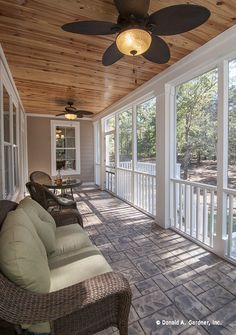 Stay cool on this screened porch with these outdoor fans! http://www.dongardner.com/plan_details.aspx?pid=4411. #Screened #Porch #Outdoor