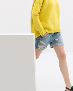 Image 3 of RIPPED DENIM SHORTS from Zara