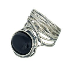 Changing Tides Dazzling 925 sterling silver ring with unique wired round-about finishing set with black onyx stone. Black Onyx, Garnet, Opal, Rings For Men, Silver Rings, Sterling Silver, Stone, Unique, Jewelry