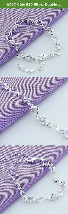 ATJC Chic 925 Silver Double Heart Love Purple Crystal Bracelet Chain Women Girl Gift. Features: Beautiful and fabulously detailed twist net cuff Bangle bracelet Truly elegant and breathtaking design looks gorgeous and amazing 25 sterling silver plated design, durable and long lasting Easy to match and suitable for any style of clothes Great in detail and good for your personal jewelry collection Perfect for all occasions: anniversary, engagement, party, meeting, dating, wedding, daily…