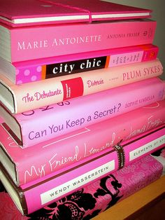 Pink books.. My other favorite style.. I even red the Plum Sykes book.. Good read, stll have it!