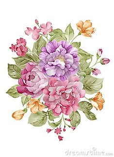 Illustration about Watercolor illustration flower set in simple white background. Illustration of blossom, natural, drawing - 51534113 Decoupage Vintage, Vintage Diy, Watercolor Flowers, Watercolor Paintings, Floral Drawing, Bunch Of Flowers, Botanical Flowers, Flower Backgrounds, Watercolor Illustration