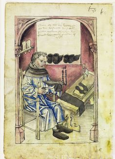 Illustration of a Shoemaker/Cobbler, Peter Velner - From the House Books of the Nuremberg Twelve Brothers Foundation, records of a charitable foundation started in the city of Nuremberg in 1388. The foundation would take 12 poor and needy people and provide them with training in a trade. Starting around 1425 their books would contain one-page illustration of the people they had helped, usually giving their name and what profession they were in. - Nuremburg, Germany - c. 1425-1450