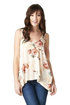 Bed of Roses Floral Tank (Available in Blush and Blue)