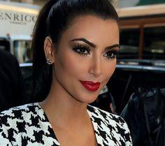 Kim Kardashian with a classy red lip makeup look by Joyce Bonelli