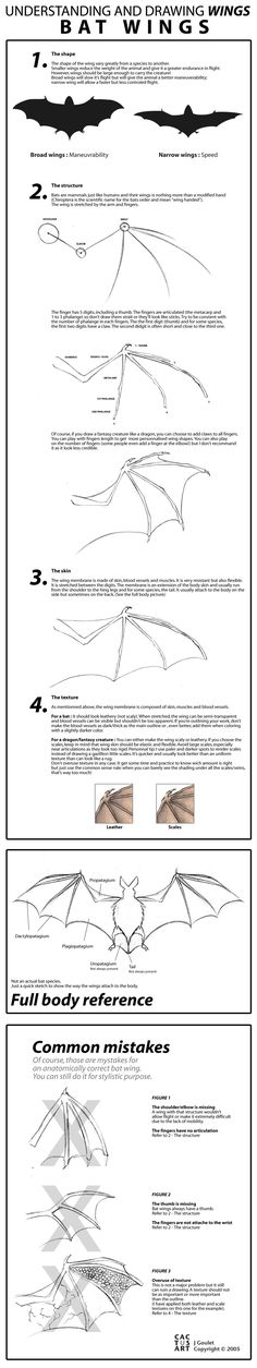 Bat Wings Tutorial by ~cactusart on deviantART   ★ || CHARACTER DESIGN REFERENCES (www.facebook.com/CharacterDesignReferences & pinterest.com/characterdesigh) • Love Character Design? Join the Character Design Challenge (link→ www.facebook.com/groups/CharacterDesignChallenge) Share your unique vision of a theme every month, promote your art and make new friends in a community of over 25.000 artists! || ★