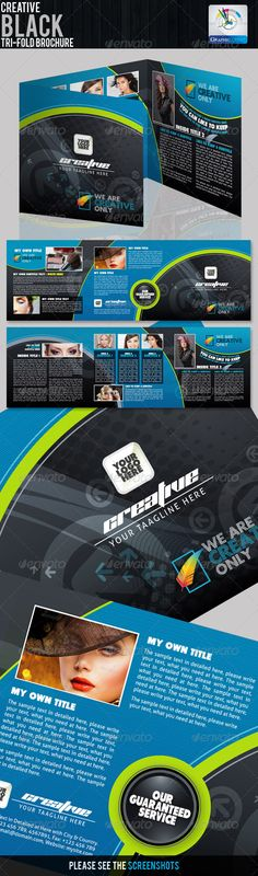 #Creative Black #Tri-fold Brochure - Corporate #Brochures Download here: https://graphicriver.net/item/creative-black-trifold-brochure/2262694?ref=alena994