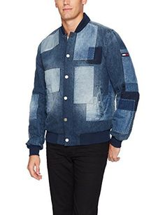 Tommy Hilfiger bomber jacket for men featuring stitched denim patches in a variety of washes over a medium blue wash. Quilted inner lining. Silver button snap closure with zipper slit pockets. This tommy Hilfiger jacket by Tommy Hilfiger Denim is a unique twist on the denim bomber...  More details at https://jackets-lovers.bestselleroutlets.com/mens-jackets-coats/lightweight-jackets/denim/product-review-for-tommy-hilfiger-denim-mens-bomber-jacket-with-denim-patchwork/