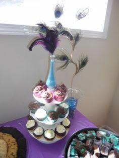 Peacock-themed bridal shower; food display