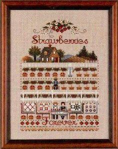 Strawberries Forever Cross Stitch Chart/Told In A Garden/Marilyn Leavitt Imblum Cross Stitch Sampler Patterns, Embroidery Sampler, Cross Stitch Samplers, Cross Stitch Kits, Cross Stitching, Cross Stitch Embroidery, Blackbird Designs, Strawberries, Needlepoint