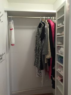 One space - multiple uses. It's all in the design. Creating space for tiny shoes and accessories; measuring hanging clothes before additional rods and shelves are installed. Supply Room, Organizing, Organization, Hanging Clothes, Create Space, Mudroom, Storage Spaces, Design Projects, Shelves