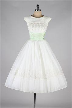 1950's Flocked Organza Dress