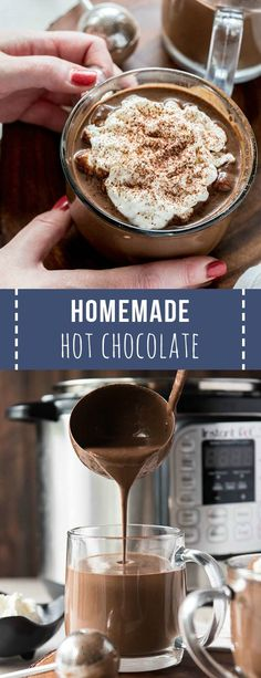 Homemade Hot Chocolate Recipe : Homemade hot chocolate is the perfect sweet treat and drink to celebrate the holidays! This recipe cooks in the Instant Pot or Slow Cooker to make things easy for holiday entertaining. Crock Pot Hot Chocolate Recipe, Best Hot Chocolate Recipes, Cocoa Recipes, Homemade Hot Chocolate, Hot Chocolate Bars, Homemade Hot Cocoa Recipe, Köstliche Desserts, Dessert Recipes, Holiday Recipes