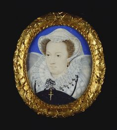 miniature of Mary, Queen of Scots by Nicholas Hilliard in 1579, one of several images he painted of her (presumably from one sitting during her captivity), a few copies exist including at the Victoria-Albert Museum, this one is in the Royal Collection of QEII