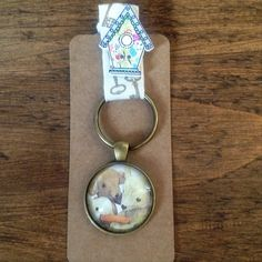 Old Bear keyring made with vintage illustration Etsy Seller, Bear, Personalized Items, Unique Jewelry, Handmade Gifts, Illustration, Vintage, Kid Craft Gifts, Craft Gifts
