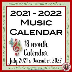 Music Calendar with music quotes: JULY 2021 - DECEMBER 2022. An 18 month Music Themed Calendar!This download contains the ONE calendar in TWO formats: a PRINTABLE PDF file and an EDITABLE GOOGLE SLIDES allowing you to enter information into your calendar
