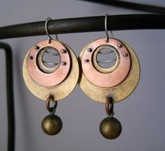 industrial hoop earrings copper brass with by Q2jewelrycollection, $55.00