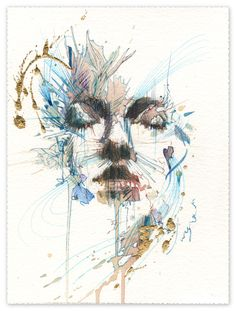 momentary peace, ink and tea on 535gsm bockingford ywatercolour paper 27.5 x 21cm by Carne Griffiths