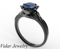 Black Gold Blue Sapphire Flower Engagement by Vidarjewelry on Etsy, $1399.00