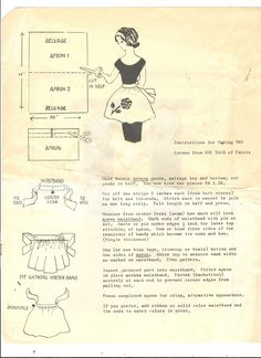VintageCorePatterns: Free Vintage Pattern, Make TWO Half Aprons from ONE Yard