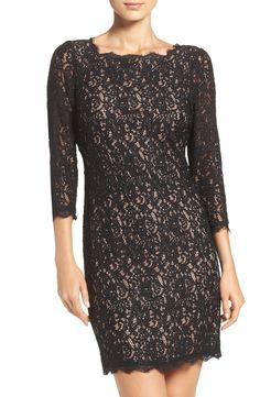 Adrianna Papell Lace Overlay Sheath Dress (Regular