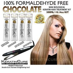 KERATIN CURE CHOCOLATE MAX BIOLOGICAL HAIR TREATMENT KIT WITH TITANIUM DUAL VOLTAGE IRON by KERATIN CURE COMPLETE KIT. $233.99. contains Theobroma Cacao Seed Butter extract creating a natural form of protective barrier that prevents dryness and loss of hydration dashed with a delicious chocolate fragrance.. contains cocoa extract best for hydrating, repairing and adding natural moisture and makes hair soft and manageable.. Brazilian Straightening technology system. ...