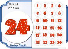 selbstklebende Zahlen Adventskalender rot Dots von Jasuki auf DaWanda.com