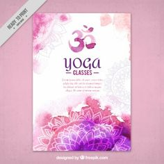 Cute watercolor yoga flyer with mandalas