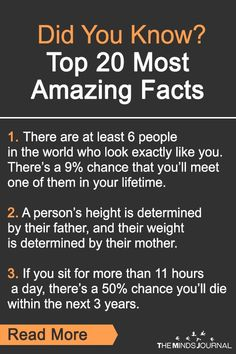 Did You Know? Top 20 Most Amazing Facts Did You Know? 20 Amazing Facts you Didn&… Did You Know? Top 20 Most Amazing Facts Did You Know? 20 Amazing Facts you Didn't knew that will blow your mind! Your shoes are the first thing people. Useless Knowledge, General Knowledge Facts, Psychology Fun Facts, Psychology Quotes, Interesting Psychology Facts, Wow Facts, Weird Facts, Random Facts, True Facts