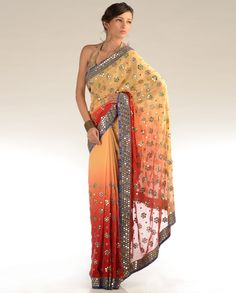 ombre shaded sari with mirror work