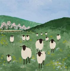 """Field of sheep"" - Original Fine Art for Sale - © Virginia McLaren"