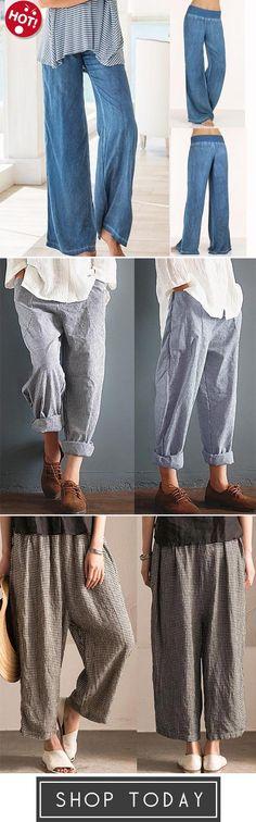 Fashion Loose Pure Color Yoga Pants,Womens Leisure Unisex Stripe Long Trousers,Women Irregular Lattice Loose Linen Cotton Long Pants
