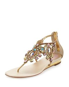 Rene+Caovilla+Jewel+Embellished+Flat+Thong+Sandals+Multi+Gold+|+Shoes+and+Footwear