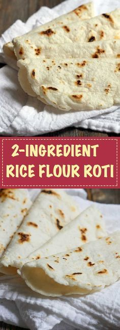This rice flour roti/tortilla is made with just 2 ingredients: rice flour and water!! It's unbelievably simple to make! Recipe by Ashley of MyHeartBeets.com