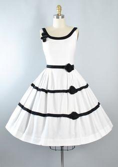 Vintage 50s ROSE Dress / 1950s White Cotton by GeronimoVintage