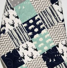Woodland Quilt, Baby Boy Toddler, Nursery Bedding, Deer - Sunnyside Designs - 1