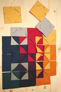 Felt Squares: This could hang over the bed like a headboard, or maybe a blanket...
