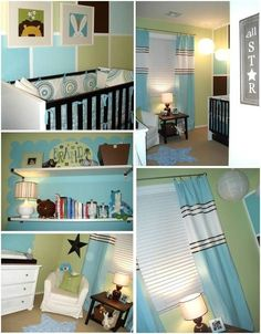 So many cute features in this #turquoise and #green #nursery. by nellie