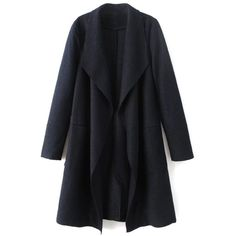 Turndown Collar Woolen Blend Coat (950 ARS) ❤ liked on Polyvore featuring outerwear, coats, collar coat, wool coat and woolen coat