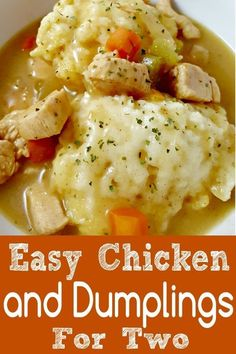 Easy Chicken and Dumplings Recipe for Two is super easy, made in one pot, full o. - Fl dinners - Dinner ideas - Easy Chicken and Dumplings Recipe for Two is super easy made in one pot full o Fl dinners - Cooking For Two, Batch Cooking, Italian Cooking, Easy Cooking, Cooking Corn, Cajun Cooking, Cooking Fish, Cooking Steak, Crock Pot Recipes