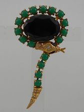 ASKEW LONDON SNAKE AND OVAL JEWEL DROP BROOCH