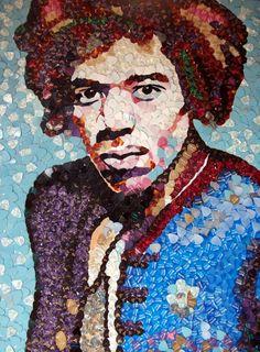 El mosaico, que mide 105 x 80 cm, está hecho de alrededor de 4.000 púas Fender y estará en la primera tienda Jimi Hendrix pop-up.