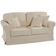 Canapé 2 places + coussins lin ivoire. - Jolipa