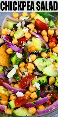 Quick, easy chickpea salad recipe, made with simple ingredients in one pot in 30 minutes. Loaded with veggies, olives, feta cheese and lemon vinaigrette. Chickpea Salad Recipes, Salad Recipes For Dinner, Healthy Salad Recipes, Recipes With Chickpeas, Chickpea Ideas, Simple Salad Recipes, Mediterranean Vegetarian Recipes, Chickpea Feta Salad, Salad Recipes Healthy Vegetarian