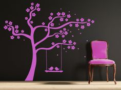 Cute cherry tree design with two birds on a swing. All our wall stickers/decals are available in a great range of sizes and colours - and can be personalised to be truly custom. Two Birds, Wall Stickers, Decals, Dining Room Walls, Cherry Tree, Tree Designs, Colours, Range, Home Decor