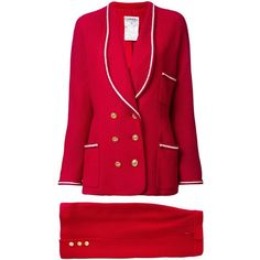 Chanel Vintage CC setup skirt suit (5.675 BRL) ❤ liked on Polyvore featuring suits and red