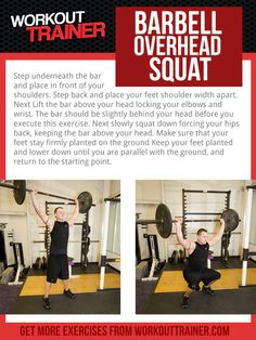 Exercise Spotlight: Barbell Overhead Squat - One of the thousands of exercises found in the free custom workout programs found on WorkoutTrainer.com