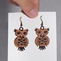 Embroidery Machine Owl Earrings: Sonia Showalter - These are design files which must be stitched out on a computerized embroidery machine Beads Jewelry, Lace Jewelry, Owl Jewelry, Etsy Jewelry, Owl Earrings, Lace Earrings, Computerized Embroidery Machine, Machine Embroidery Patterns, Embroidery Jewelry