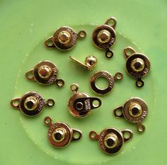 """10 (ten) Patented Premium 8mm Gold Plated Ball and Socket """"Snap"""" Clasps"""