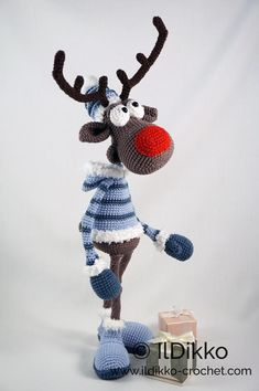 Amigurumi Pattern Rudolf the Reindeer XL English Version Crochet Panda, Crochet Amigurumi, Crochet Animals, Crochet Dolls, Crochet Toys Patterns, Amigurumi Patterns, Stuffed Toys Patterns, Catania, Double Crochet